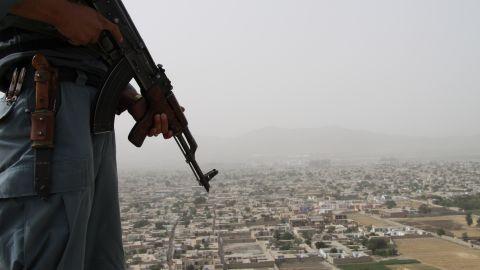 A police officer on duty on Wazir Akbar Khan hill in central Kabul, Afghanistan.