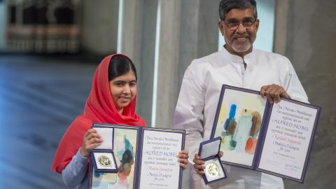 Malala Yousafzai split the 2014 Nobel Peace Prize with India's Kailash Satyarthi for their struggles against the suppression of children and for young people's rights. Yousafzai came to global attention after she was shot in the head by the Taliban in 2012 for her efforts to promote education for girls in Pakistan.