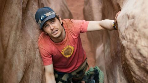 """James Franco spent five days trapped by a boulder in the remote Utah desert in 2010's """"127 Hours."""" The movie was based on the true story of mountaineer Aron Ralston, who amputated his own right forearm to free himself."""
