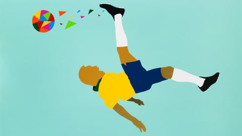Born into poverty in the Brazilian state of Minas Gerais, Pele's early steps in the game were made with a grapefruit at his feet. He would go to become one of the greatest players the game has ever seen. Paricio's work depicts Pele executing an overhead kick.