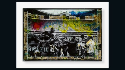 """Raphael Mazzucco's work depicts Pele at the 1970 World Cup, which Brazil won. But Pele's aims were more modest when he started playing soccer: """"The most I ever thought was that my dad was a good football player, he scored a lot of goals. His name was Dondinho. I wanted to be like him."""""""