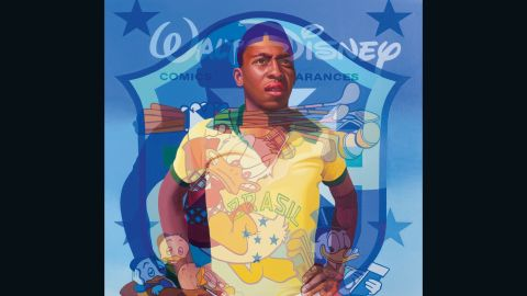 """Stuart McAlpine Miller's piece depicts Pele alongside famous Walt Disney characters. Pele said of the works at the Halcyon Gallery: """"Every artist has a message: that is the poor person who has won in life."""""""
