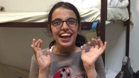 Nujeen Mustafa in a video on YouTube