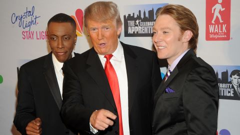 """Arsenio Hall, Donald Trump and Clay Aiken attend  the """"Celebrity Apprentice"""" Live Finale at American Museum of Natural History on May 20, 2012 in New York City."""