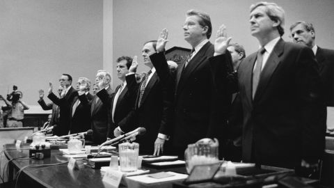 Big Tobacco executives testified before Congress in 1994, declaring they did not believe cigarettes were harmful to people's health. Their testimony was derided by much of the American public and became a turning point in the battle against the lobbying power of the cigarette industry.
