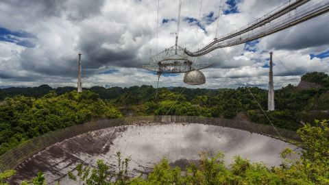 The current largest single-dish radio telescope, the Arecibo Observatory, Arecibo, Puerto Rico.