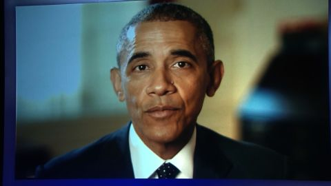 President Obama's taped message to the Democrats at the CNN Democratic Debate in Las Vegas.