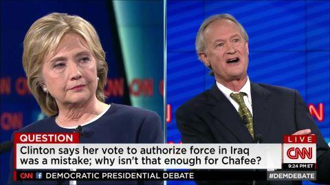 hillary clinton chafee democratic debate iraq war 15_00005411.jpg
