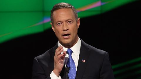 """O'Malley faces the camera while delivering remarks. He went after Sanders on gun control early in the debate, and -- in what could be interpreted as a veiled swipe at Clinton -- he said, """"I am very clear about my principles."""""""