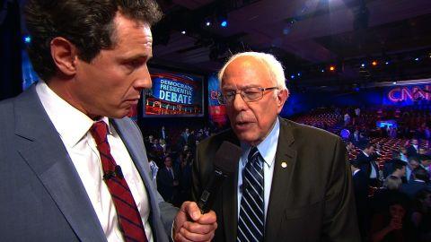 Bernie Sanders talks to CNN's Chris Cuomo following the CNN Democratic Debate in Las Vegas.