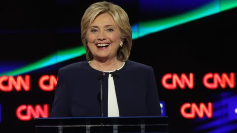 LAS VEGAS, NV - OCTOBER 13:  Democratic presidential candidate Hillary Clinton takes part in a presidential debate sponsored by CNN and Facebook at Wynn Las Vegas on October 13, 2015 in Las Vegas, Nevada. Five Democratic presidential candidates are participating in the party's first presidential debate.  (Photo by Joe Raedle/Getty Images)