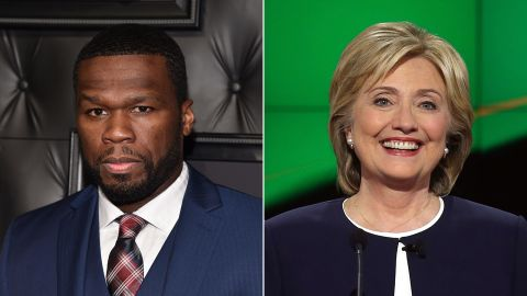 """Rapper 50 Cent announced his support for Clinton, telling <a href=""""http://www.thedailybeast.com/articles/2015/05/21/50-cent-backs-hillary-clinton-for-president-it-s-hillary-time.html"""" target=""""_blank"""" target=""""_blank"""">The Daily Beast</a>, """"It's Hillary time!"""""""
