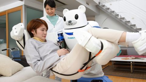 The Robear, developed by scientists in Japan, uses giant arms and artificial intelligence to help care for elderly and disabled patients.