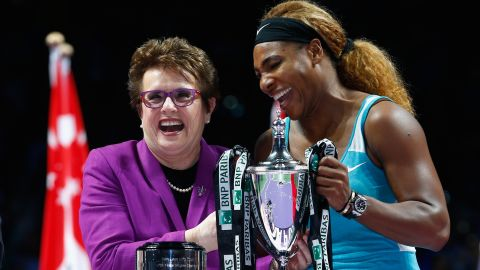 """King says there is still some way to go to alter attitudes in tennis. She told CNN a New York Times article on the body shape of world No.1 Serena Williams this year drove her crazy: """"So what? stop evaluating us. I mean, she is probably the all-time great. So stop it. Talk about her accomplishments."""""""