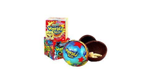 """Originally the Nestle Magic Ball, the Wonder Ball was a hollow chocolate ball filled with candy. It was introduced in the '90s, reworked and reintroduced in 2000. But even that edition lasted only until 2004. They <a href=""""http://www.nationwidecandy.com/snacks/items/10655.htm"""" target=""""_blank"""" target=""""_blank"""">do exist online</a> -- now made by Frankford -- but have long disappeared from stores. <a href=""""https://www.youtube.com/watch?v=po915tRgLOY"""" target=""""_blank"""" target=""""_blank"""">So much for candy surprises</a>."""