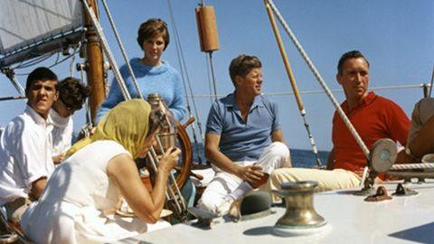 Kennedy with Mrs. Hugh D. Auchincloss, John Kerry (far left), Janet Auchincloss in Narragansett Bay, Rhode Island.