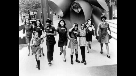 <strong>1960s:</strong> In this picture from the 1960s, the four Brownie, Junior, Cadette, Senior and Adult age levels are all represented. There are now six  levels for Girl Scouts, starting with Daisies in kindergarten and grade 1, and going up to Ambassadors for grades 10-12.