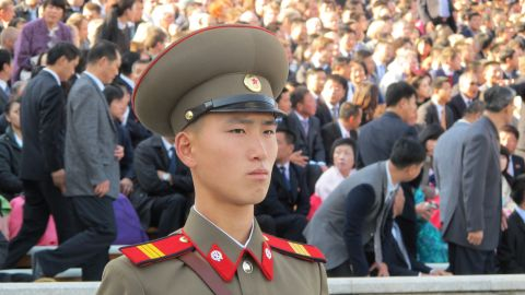 """During a carefully choreographed show of strength to mark the <a href=""""http://edition.cnn.com/2015/10/10/asia/north-korea-military-parade/"""">70th anniversary of the ruling Korean Workers' Party</a> in October 2015, a soldier marches across Pyongyang's Kim Il Sung Square."""