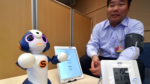 """This is """"Sota,"""" a humanoid robot produced by Japanese robotics company Vstone, which uses NTT technology to control multiple electronic devices. NTT is testing its use to monitor elderly people at a retirement home, and is developing other services for elderly people and children."""