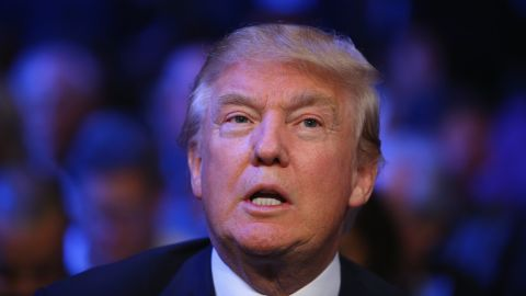 Donald Trump attends a fight at Madison Square Garden on October 17, 2015, in New York City.