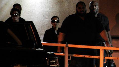 Kris Jenner, left, and Kim Kardashian leave Sunrise Hospital & Medical Center in Las Vegas where Odom was being treated on Wednesday, October 14.