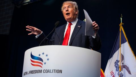 Republican presidential candidate Donald Trump speaks during the Iowa Faith and Freedom Coalition annual banquet and presidential forum  Monday June 22, 2015 in Des Moines, Iowa. (Taylor Glascock for CNN)