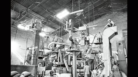 A machine processes coffee at a warehouse in India in 2003.