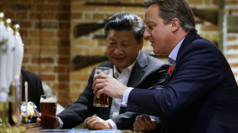 Prime Minister Cameron took Xi for beer at The Plough is Cadsden, which is close to his countryside retreat Chequers. The two enjoyed a pint of British beer and dined out on fish and chips.