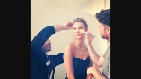 """Bailey posted this <a href=""""https://instagram.com/p/wxzrszvhqh/?taken-by=byjakebailey"""" target=""""_blank"""" target=""""_blank"""">Instagram photo </a>of Karlie Kloss getting ready for 2014  People Magazine Awards in December. """"Working on a face like that is no work at all,"""" he wrote in the caption."""