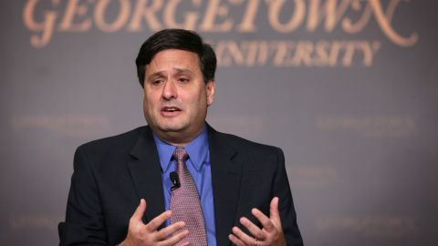 """WASHINGTON, DC - DECEMBER 05:  White House Ebola Response Coordinator Ron Klain speaks during discussion December 5, 2014 at Georgetown University in Washington, DC. The university held a discussion on """"Ebola: Responding to the Domestic and Global Challenges.""""  (Photo by Alex Wong/Getty Images)"""