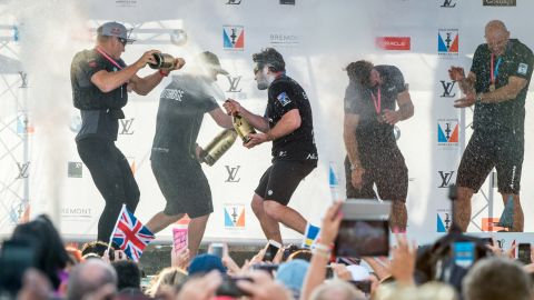 The Swedish team celebrated its overall victory in Bermuda, finishing two points ahead of nearest rival Emirates Team New Zealand.