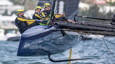 """The head-on crash would have been in excess of 25 knots (28 mph). """"At that point we couldn't go anywhere,"""" Artemis Racing skipper Nathan Outteridge told the America's Cup website. """"He went straight between our bows but thankfully nobody was hurt. There was a serious amount of damage to our boat though."""""""
