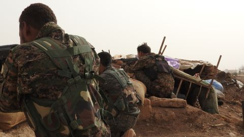 Kurdish YPG fighters on the frontline against ISIS in Syria.