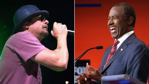 """In an <a href=""""http://www.nytimes.com/2015/02/08/magazine/kid-rock-theres-no-winning-that-battle.html?_r=0"""" target=""""_blank"""" target=""""_blank"""">interview</a> with The New York Times magazine, musician Kid Rock said that he was """"very interested"""" in the things Republican presidential candidate Ben Carson has to say."""