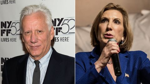 """Actor James Woods <a href=""""http://www.cnn.com/2015/10/20/politics/james-woods-bernie-sanders-twitter/"""" target=""""_blank"""">took to Twitter</a> to say how much he admired Republican presidential candidate Carly Fiorina, saying he was """"proud to support this remarkable woman and her historic campaign."""" Fiorina suspended her candidacy in February."""
