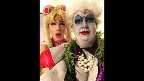 """Actor Colton Haynes and actress Emily Bett Rickards reveal their Halloween costumes in a selfie shared on Instagram on Sunday, October 25. Haynes was Ursula from """"The Little Mermaid,"""" and Rickards was Sailor Moon."""