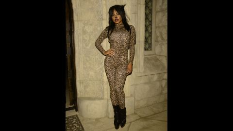 Christina Milian gave her best big cat impression at Carlton's Halloween Nightmare! party.