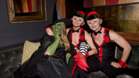 """""""Glee"""" actors Ashley Fink, Chris Colfer and Will Sherrod got frisky at Matthew Morrison's 6th Annual Halloween Masquerade Ball in Los Angeles on October 25."""
