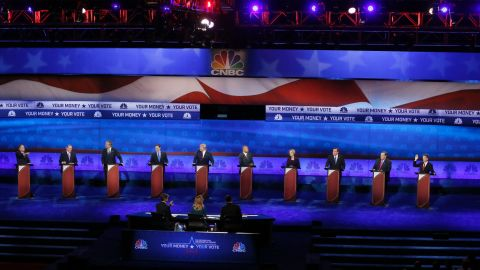 Republican presidential candidates, from left, John Kasich, Mike Huckabee, Jeb Bush, Marco Rubio, Donald Trump, Ben Carson, Carly Fiorina, Ted Cruz, Chris Christie, and Rand Paul appear during the CNBC Republican presidential debate at the University of Colorado, Wednesday, Oct. 28, 2015, in Boulder, Colo. (AP Photo/Brennan Linsley)