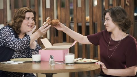 """Rachel Bloom, right, was nominated for best actress in a television series - musical or comedy for her role in """"Crazy Ex-Girlfriend."""" Jamie Lee Curtis (""""Scream Queens""""), Julia Louis-Dreyfus (""""Veep""""), Gina Rodriguez (""""Jane the Virgin"""") and Lily Tomlin (""""Grace and Frankie"""") are also nominated."""