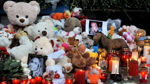 Candles, toys, flowers and portraits are left at Pulkovo International Airport outside St. Petersburg on November 1.
