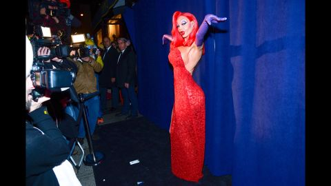"""Jessica Rabbit, is that you? Heidi Klum dressed as the iconic """"Who Framed Roger Rabbit?"""" character for her 16th annual Halloween party in New York. Here are some other celebrities' costumes from Halloween 2015."""