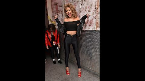 """Model Gigi Hadid dressed as Sandy from """"Grease"""" at Heidi Klum's Halloween party."""