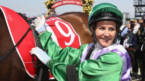 MELBOURNE, AUSTRALIA - NOVEMBER 03:  Michelle Payne riding Prince Of Penzance returns to scale after winning race 7 the Emirates Melbourne Cup on Melbourne Cup Day at Flemington Racecourse on November 3, 2015 in Melbourne, Australia.  (Photo by Michael Dodge/Getty Images)