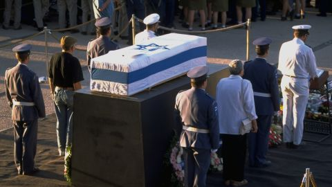 Rabin's flag-draped coffin lies in state outside the Knesset on November 5, 1995.