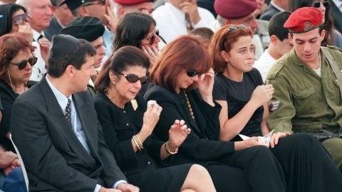 Family members, including widow Leah Rabin, second from left, grieve during the funeral on November 6, 1995, at Jerusalem's Mount Herzl.