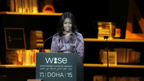 """First lady Michelle Obama delivers a speech in Doha, Qatar, during the World Innovation Summit for Education on Wednesday, November 4. Obama will be visiting Qatar and Jordan during her seven-day tour of the Middle East, where she is promoting her girls' education initiative, """"Let Girls Learn,"""" as well as the Joining Forces program that helps service members and their families."""