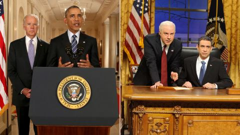 Actors Fred Armisen and Jason Sudeikis impersonated President Barack Obama and Vice President Joe Biden in a 2009 skit.