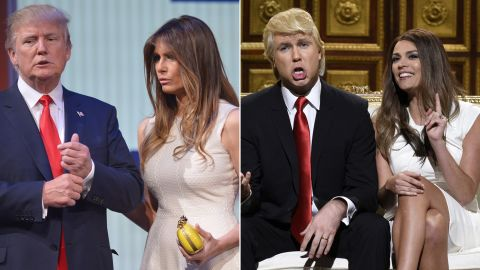 """Actors Taran Killam and Cecily Strong revealed their impersonations of Republican presidential candidate Donald Trump and his wife, Melania, on a """"Saturday Night Live"""" episode in October.<br />"""