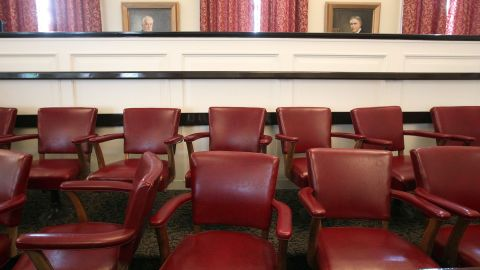 BELLEFONTE, PA - JUNE 17:  The Jury chairs sit empty inside the courtroom of the Centre County Courthouse, on June 17, 2012 in Bellefonte, Pennsylvania. This week the defense will be begin its argument's in the sexual abuse trial of former Penn State assistant football coach Jerry Sandusky who is charged with 52 criminal counts of alleged sexual abuse of children.  (Photo by Mark Wilson/Getty Images)